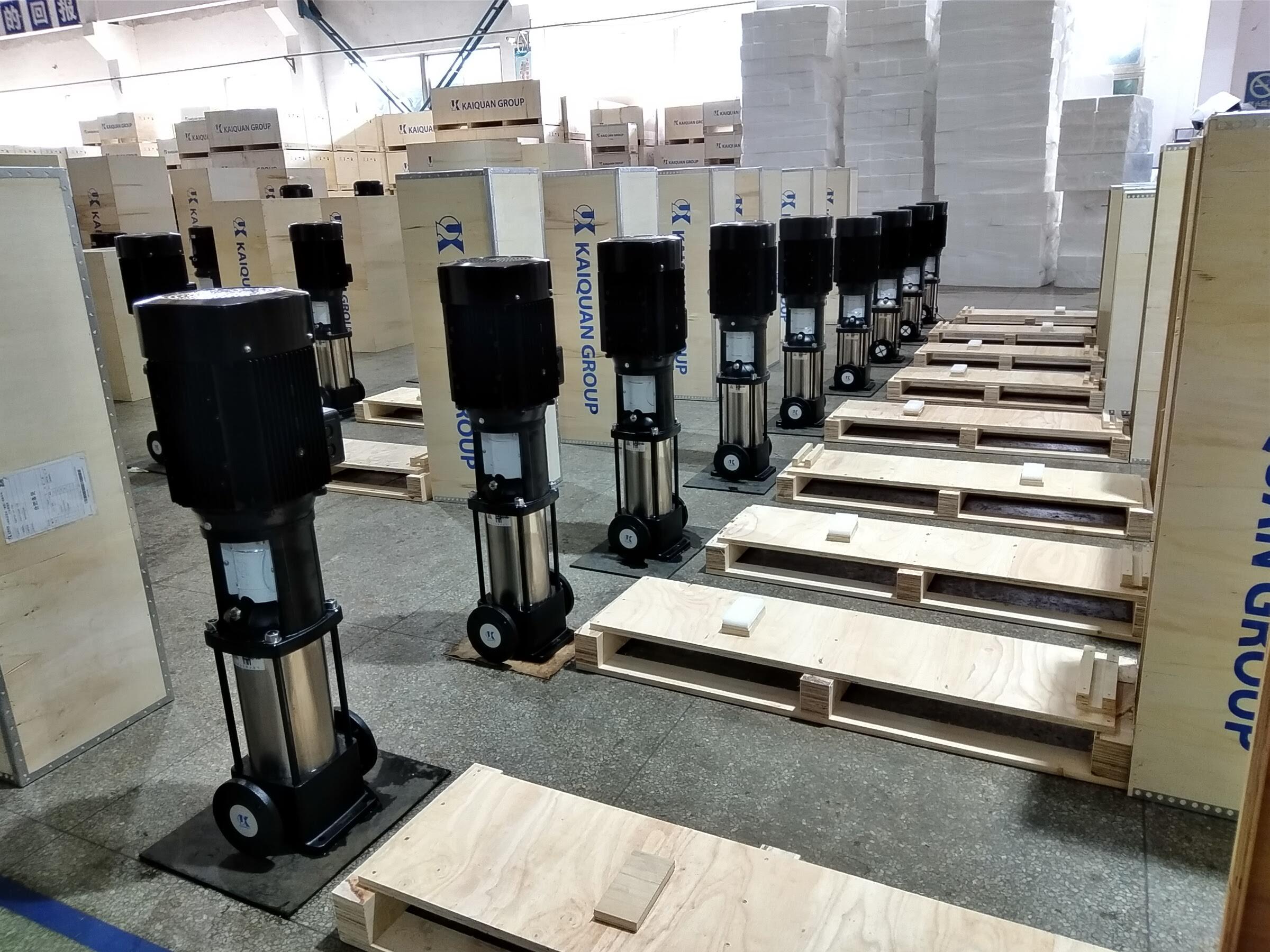 Nhà máy Kaiquan Thượng Hải chuẩn bị đóng gói sản phẩm máy bơm đa tầng trục đứng